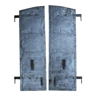 Antique Distillery Metal Shutters - A Pair For Sale