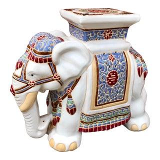 Vintage Ceramic Elephant Garden Stool Plant Stand For Sale