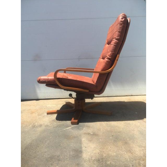 Vintage Teak & Leather Adjustable Lounge Chair - Image 5 of 8
