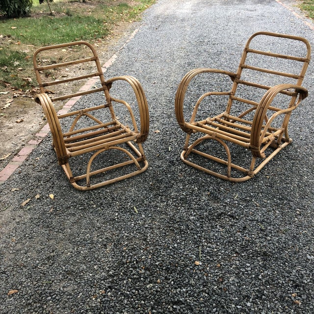 Vintage pair of Frankl style rattan lounge chairs. Need cushions