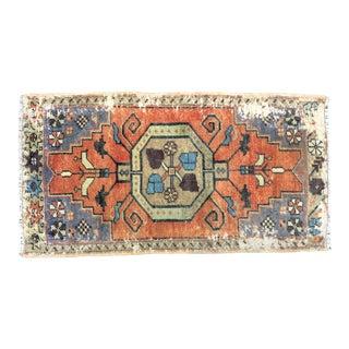 Vintage Distressed Turkish Handmade Orange Small Rug For Sale