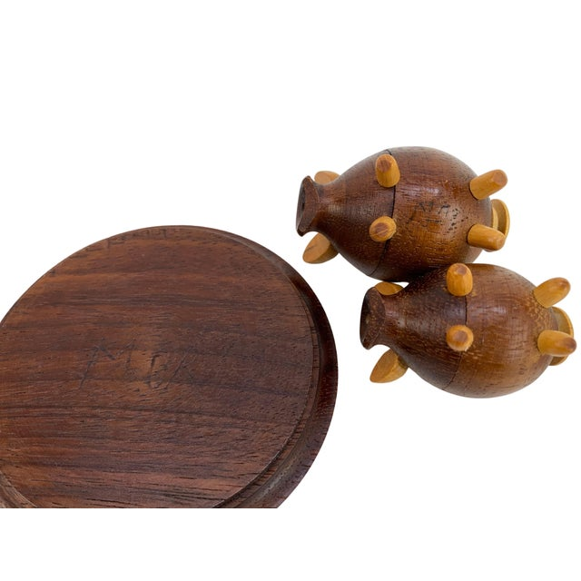 Handmade Walnut Pig Salt & Pepper Shakers on Tray For Sale - Image 4 of 9