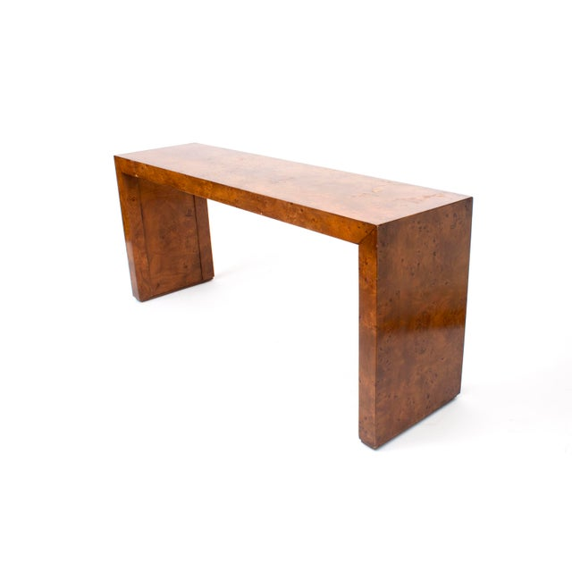 Mid-Century Modern Mid-Century Modern Milo Baughman Burl Wood Console Table For Sale - Image 3 of 10