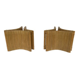 Baker McGuire Organic Modern Rattan Cocktail Table Bases - a Pair