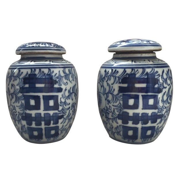 Double Happiness Blue Ginger Jars - a Pair - Image 1 of 8