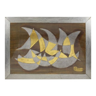 French Jacques Potage 1970s Brutalist Metal Wall Art Sculpture Panel For Sale