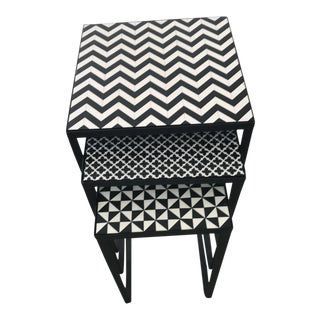 Modern Trio Nesting Tables Faux Inlay For Sale