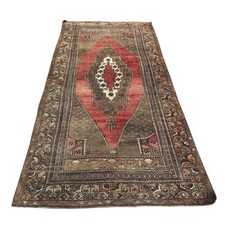 """Antique Turkish Traditional Oushak Rug-4'3'x9'7"""" For Sale"""