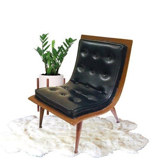 Mid Century Modern Bent Wood Upholstered Scoop Lounge Chair Preview