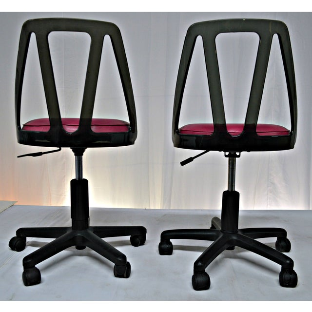 Vintage Smoked Lucite Office Chairs - Pair - Image 7 of 9
