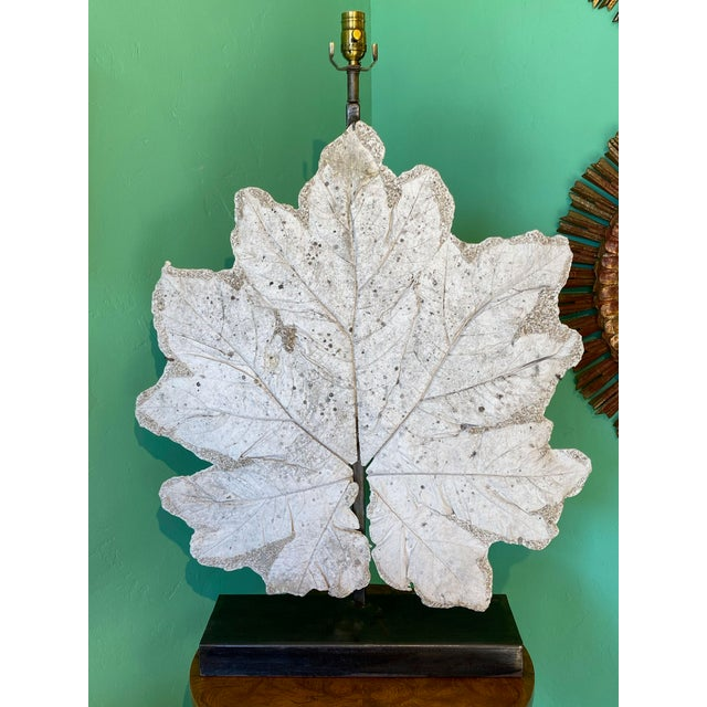 Late 20th Century French Lamp With Vintage Plaster Leaf For Sale - Image 5 of 8