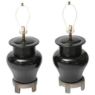 Art Deco Style Large-Scale Black Ceramic Vase Form Table Lamps - a Pair For Sale