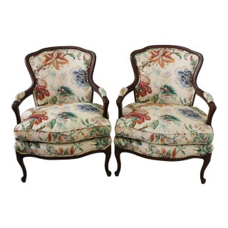 Vintage Brunschwig & Fils Upholstered Bergere Side Chairs - Pair For Sale