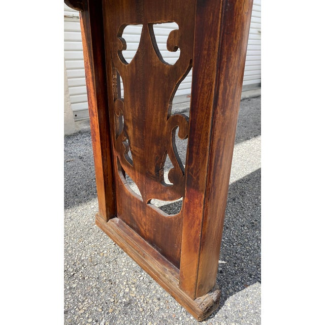 Late 19th Century Chinese Elm Altar Large Console Table For Sale - Image 5 of 13