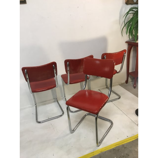 1950s Mid Century Tubular Chrome Red Lloyd Cavalier Dining Chairs - Set of 4 For Sale - Image 5 of 8
