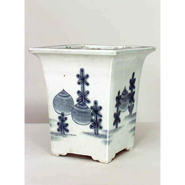 Asian Asian Chinese Style Square Blue and White Porcelain Cachepot- A Pair For Sale - Image 3 of 3
