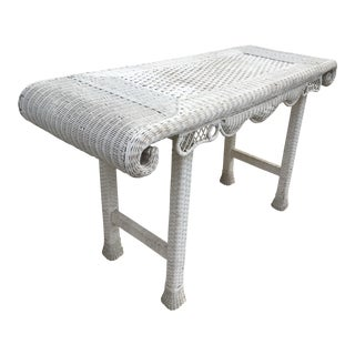 White Wicker Library or Hall Table For Sale