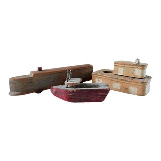 Vintage Collection Folk Art Handmade Boats & Train - Set of 3 For Sale
