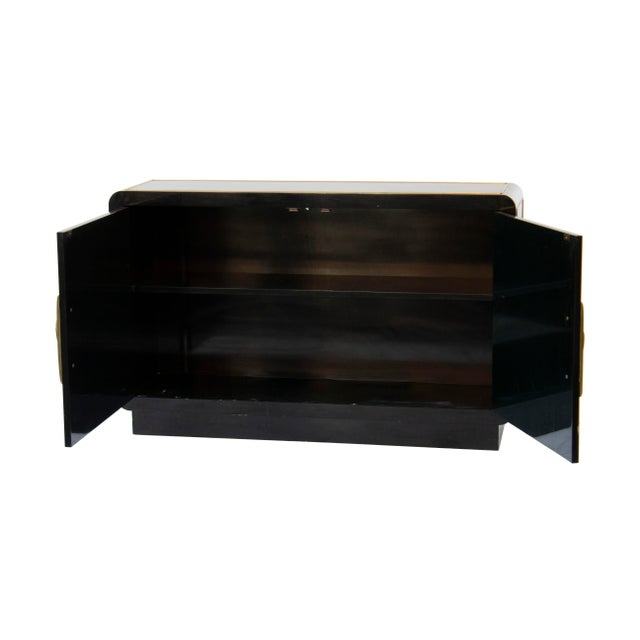Mastercraft Mastercraft Console Cabinet in Black Lacquer and Brass For Sale - Image 4 of 13