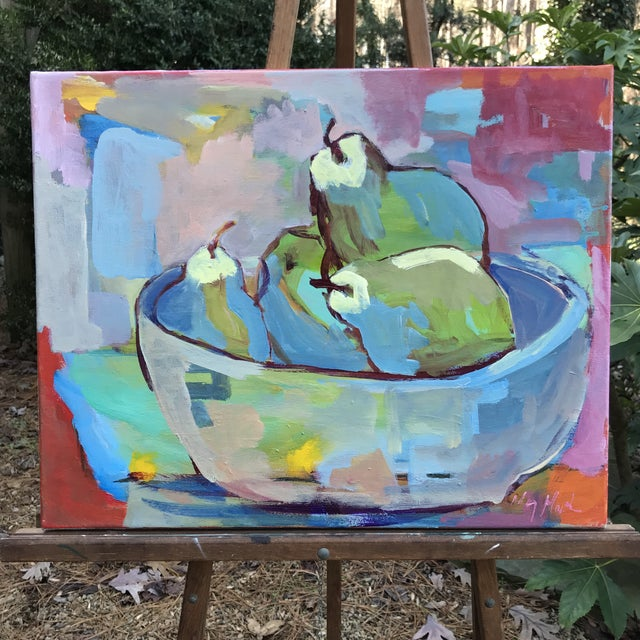 """""""Abstract Pears"""" Original Painting by Mary Houston For Sale In Raleigh - Image 6 of 6"""
