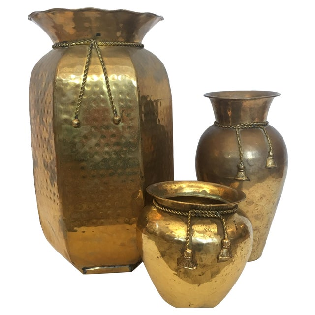 Brass Vases with Cord and Tassel - 3 - Image 1 of 6