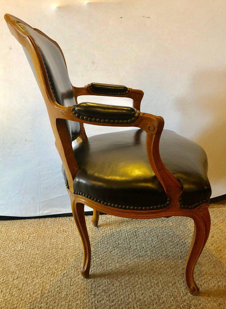 Louis XV Style Walnut Fauteuil / Arm or Office Chair Black Leather Upholstery For Sale -  sc 1 st  Decaso & Fine Louis XV Style Walnut Fauteuil / Arm or Office Chair Black ...