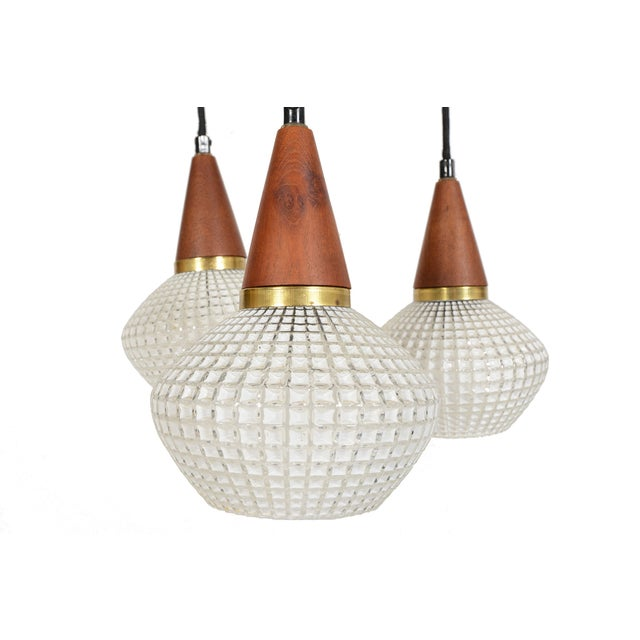 Danish Modern Teak & Glass Tri-Pendant - Image 2 of 3