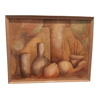 1960s Vintage Still Life Oil on Canvas Painting For Sale