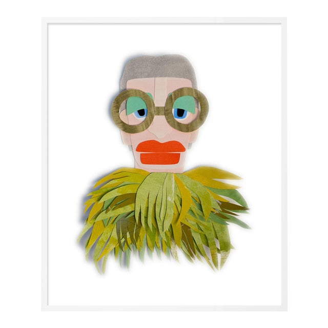 Iris with Chartreuse Feathers by Melvin G in White Framed Paper, XS Art Print For Sale