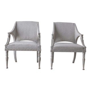 Gustavian Style Painted Armchairs with Sphinx Heads - a Pair For Sale