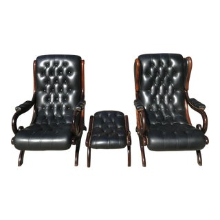 Vintage Mid-Century Modern Black Leather Lounge Chairs With Ottoman - 3 Pieces For Sale