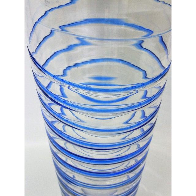 Monumental Transparent & Blue Glass Vintage Blenko Vase Large Mid-Century Modern MCM For Sale - Image 7 of 10