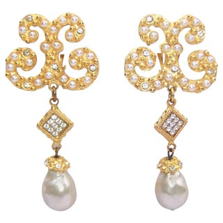Glam 1980's Gerard Yosca Gold Tone Pearl Dangle Earrings For Sale