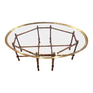 1970s Hollywood Regency Baker Faux Bamboo Coffee Table For Sale