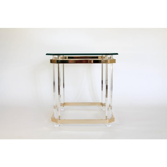 Hollywood Regency Lucite & Brass Side Table For Sale - Image 3 of 11