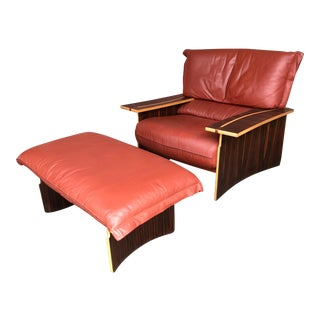 1970s Poli and Fiori for Bernini Wood Leather Lounge Chair & Ottoman For Sale