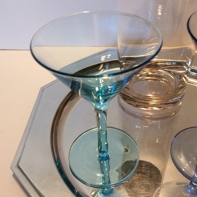 Vintage Martini Shaker with 2 Glasses & Silver Plated Tray Set - Image 7 of 11