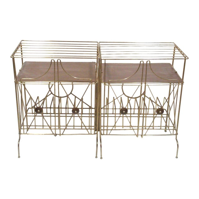 Mid-Century Modern Brass Record Racks - A Pair - Image 1 of 6