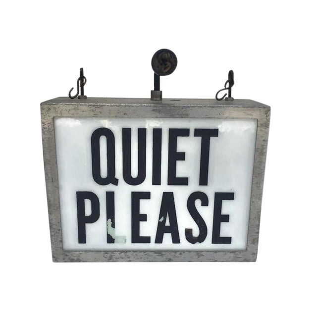 Mid Century Modern Light up Wall Sign Hanging Sign Quiet on the Set For Sale