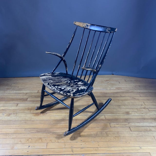 Illum Wikkelsø Ebonized Rocking Chair, 1958 Denmark For Sale In New York - Image 6 of 8