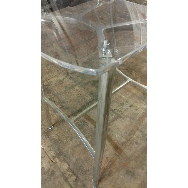 Designer Lucite & Polished Steel Bar Stools - Set of 3 For Sale - Image 5 of 10