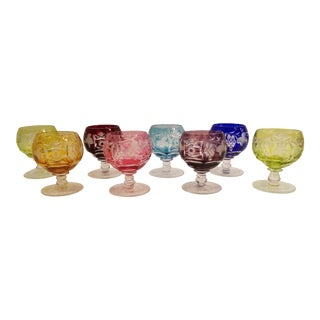 German Cut to Clear Small Brandy Snifters - Set of 8 For Sale