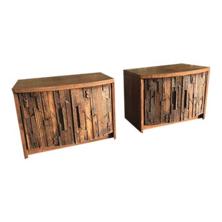 Vintage Brutalist Night Stands by Lane Co. - a Pair For Sale