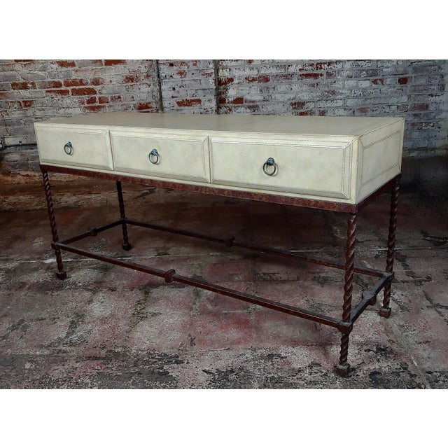 Vintage Wrought Iron & Leather Top Sofa Table Console For Sale - Image 4 of 11