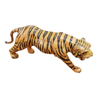 1960s Vintage Indian Mid Century Hand Painted Leather Tiger Figurine For Sale