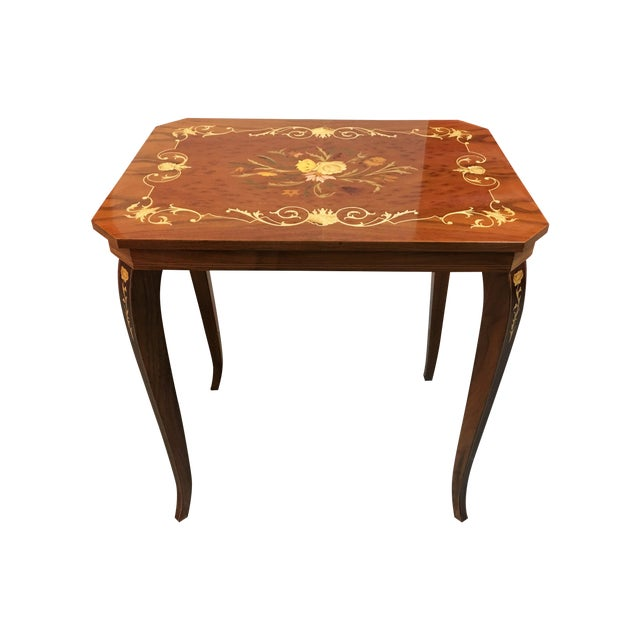 Italian Inlay Side Table For Sale