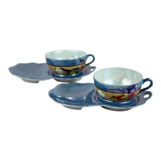 Hand Painted Pale Blue Tea & Toast Sets - a Pair