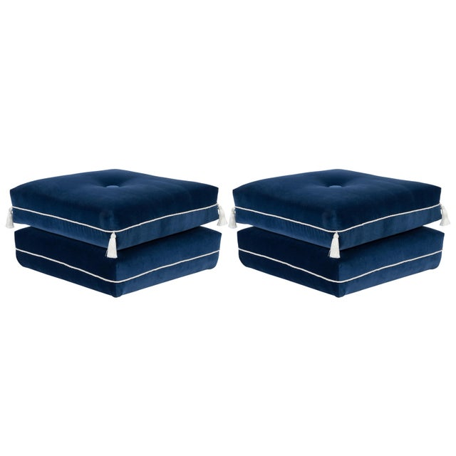 Textile Casa Cosima Turkish Ottoman in Cadet Blue Velvet, a Pair For Sale - Image 7 of 7