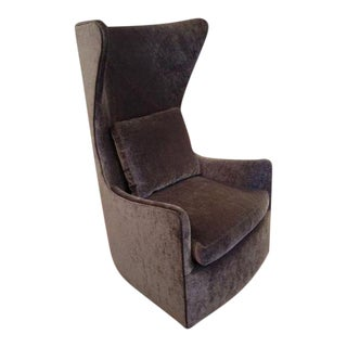 Contemporary Milo Baughman Gray Velvet Wingback Chair