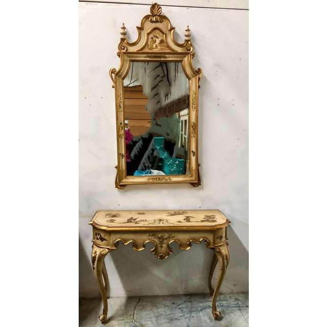 Italian Chinoiserie Mirror and Console Table For Sale - Image 4 of 5